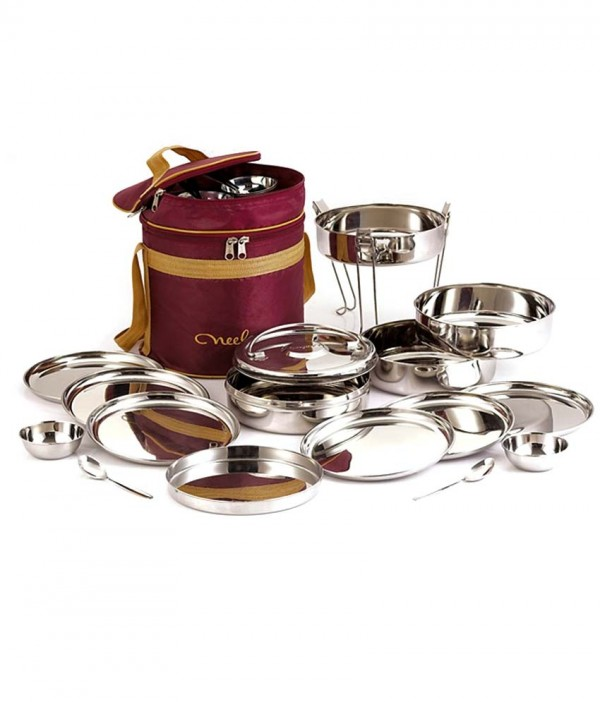 Neelam Stainless Steel Travelling / Picnic Tiffin Box Set of 26Pcs No-12