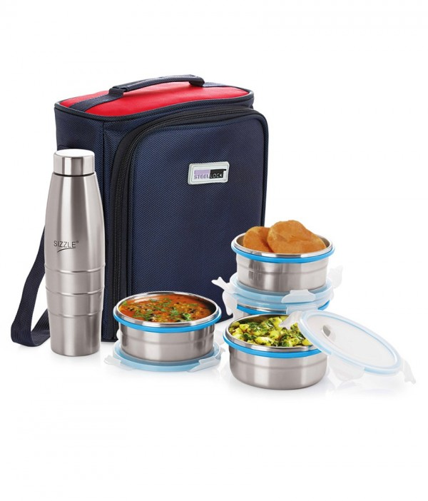 Steel Lock HL- 1361 Airtight 4 pc 400 ml each & Lock Steel Lunch
