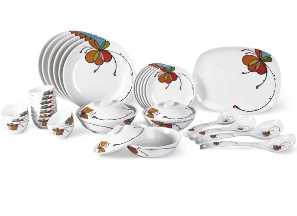 Borosil Melamine Vibgyor Fidenza Dinner Set, 35 Pieces