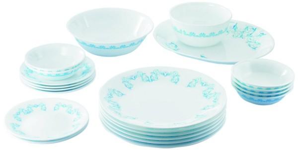 Corelle India Collection Rhythm Dinner Set, 21-Pieces, White/Blue