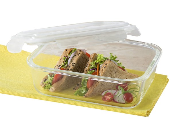 Borosil Klip & Store Rectangular Containers with Lid, 1520ml