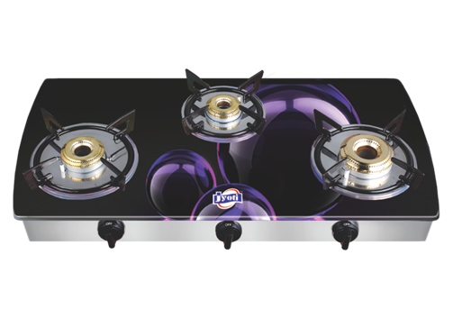Jyoti Model- 3 in slim Three Burner Designer Gas Stove (Purple Bubble)