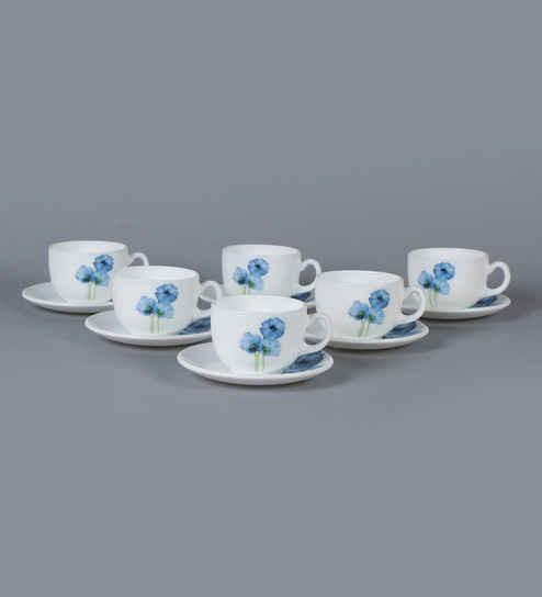 LaOpala Iris Regular Blue Poppies Opal Ware 160 ML Cup and Saucer - Set of 6