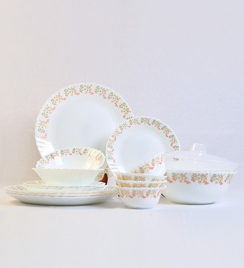 Larah by Borosil Terra White Opal Glass 18-piece Dinner Set