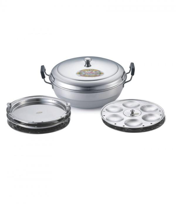 Neelam Silver Stainless Steel Bottom Multi Kadai