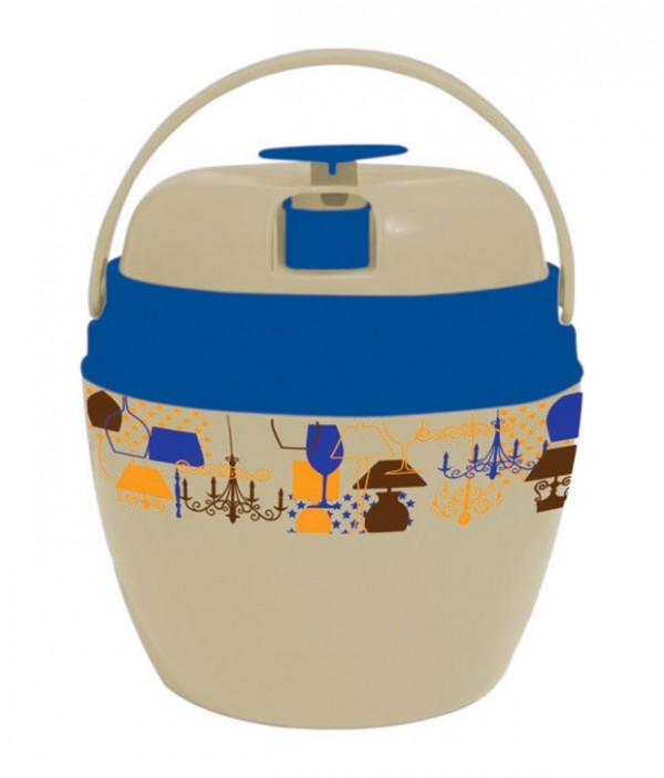Princeware Blue Virgin Plastic Insulated Round Ice Pail 1.5 Ltr