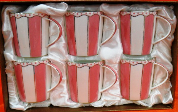 HI LUXE Stripe Mug Set (pink)