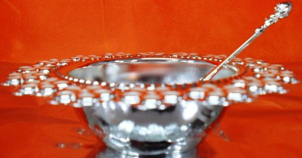 Hi Luxe Silver Daisy Bowl & Spoon 6 PC