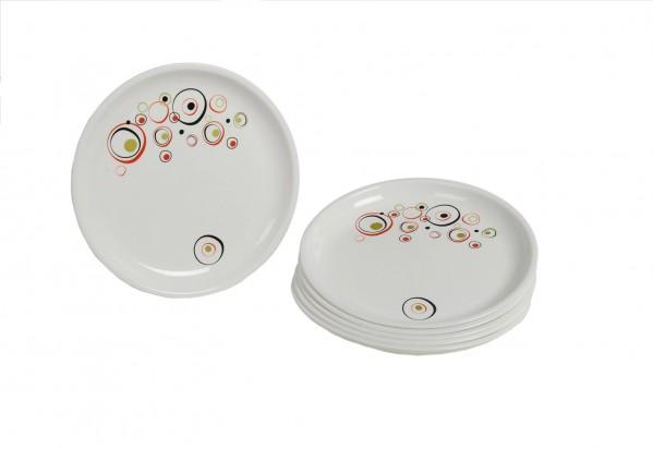 Signoraware Design-3 Round Half Plate Set, Set of 6, White