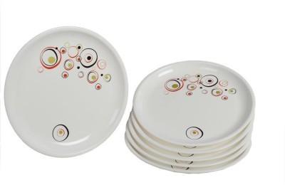 Signoraware Designer Full Plate Round Solid Plastic Plate (White, Pack of 6