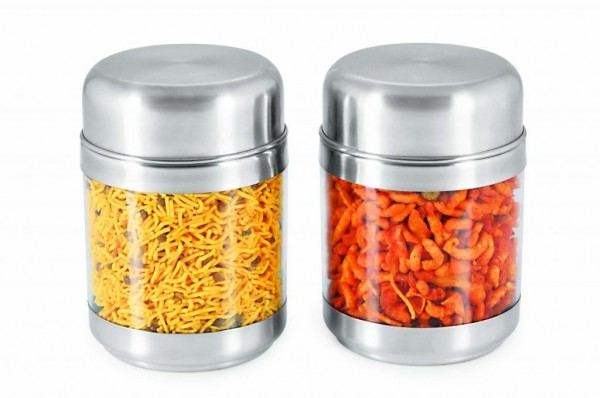 Sizzle Clear Containers 575 ml Set of 2 Twist Canisters S10