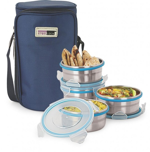 Steel Lock HL HL 1341 4 Containers Lunch Box