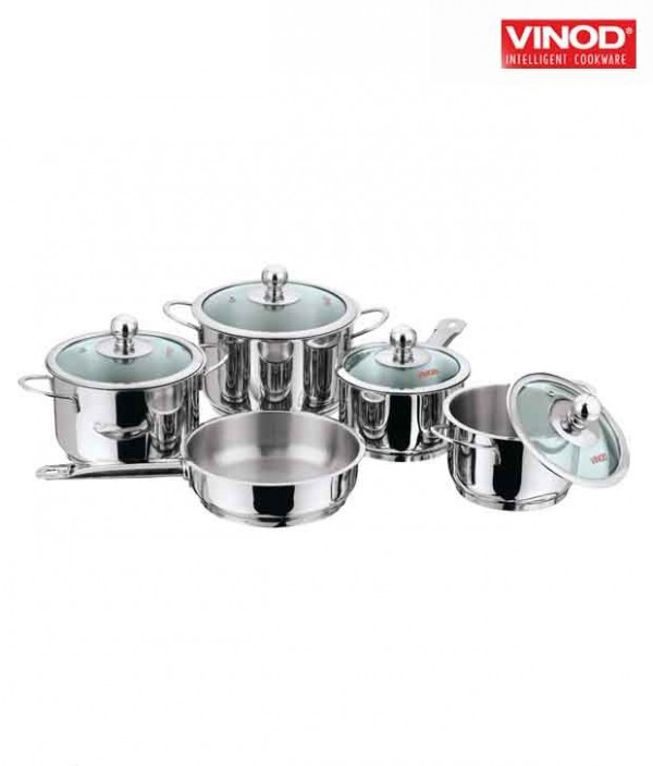 Vinod 5 Pcs Tuscany Cooking Pots With 3 Lids