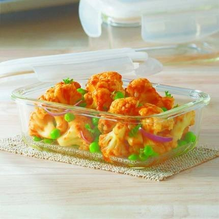 Borosil Klip & Store Square Containers with Lid, 320ml