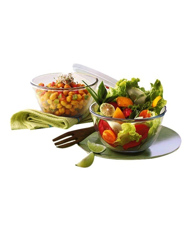 Borosil Set of 2 Mixing Bowl with Plastic Lid