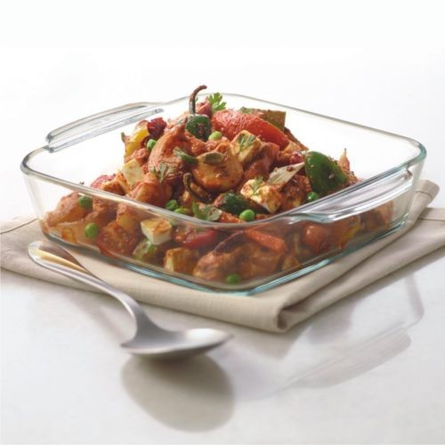 Borosil Square Dish with Handle, 1.6 Litres