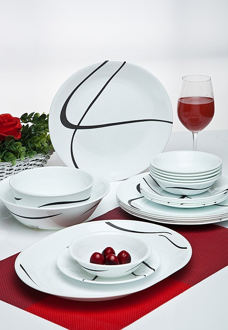 Corelle India Impression Twists and Turns Round Dinner Set, 21-Pieces