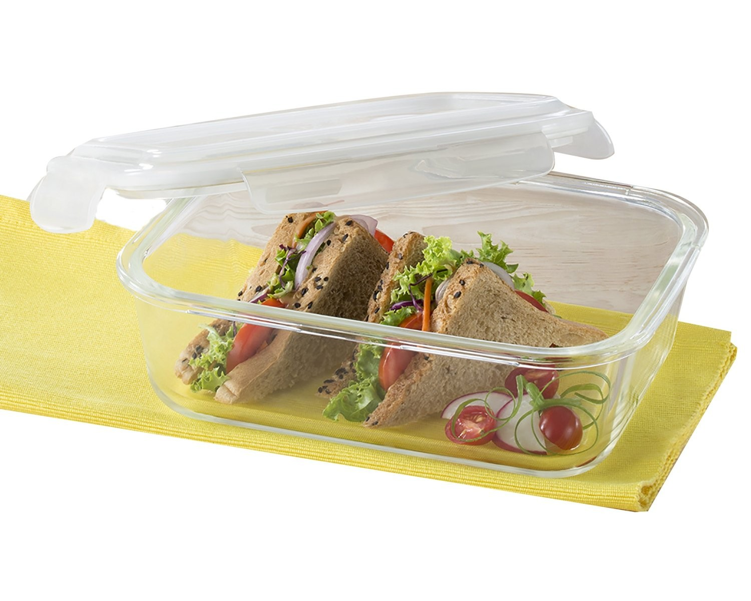Borosil Klip & Store Rectangular Containers with Lid, 640ml