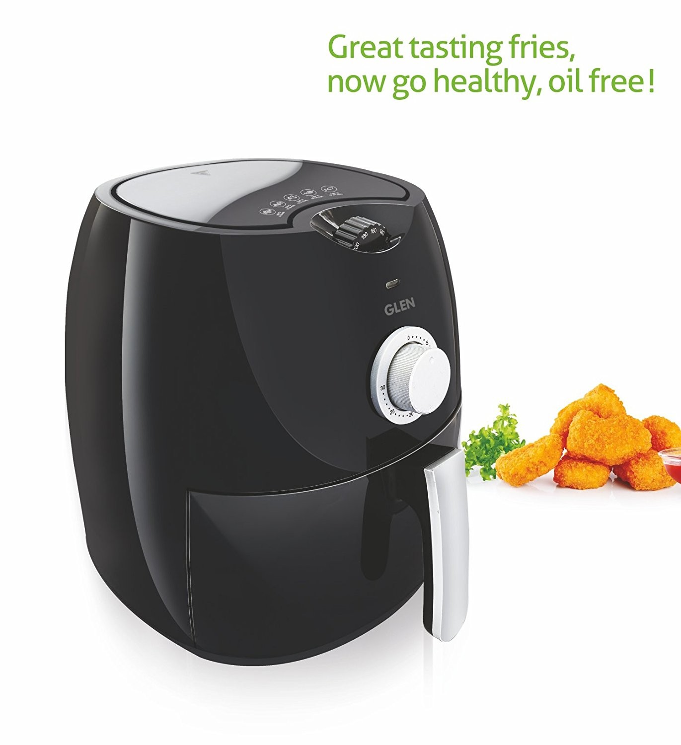 Glen Kitchen GL 3044 Air Fryer (Black) - 2 Year Warranty - Upto 80% Less Fat, Cooking Capacity 2.8 litres, 1350 Watt