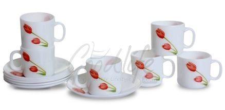 LaOpala Regular Coffee Cup & Saucer Set - Scarlet Duet