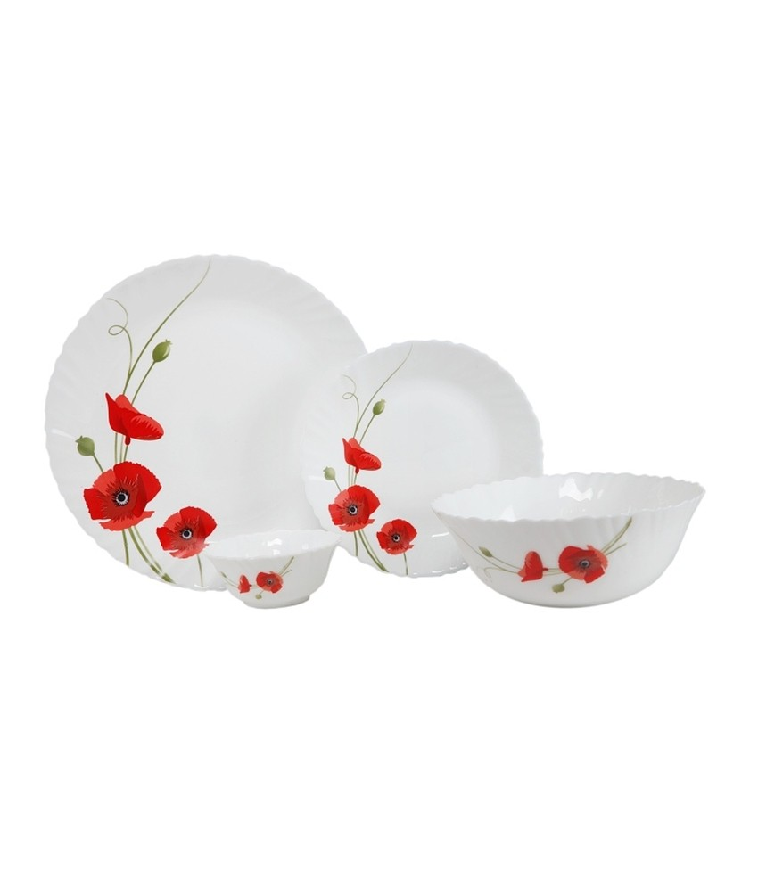Larah 21 Pcs Dinner Set Fluted Red Carnation