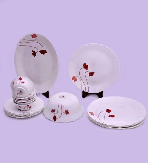 Larah by Borosil Fluted Aphrodite Opal Glass 21-piece Dinner Set