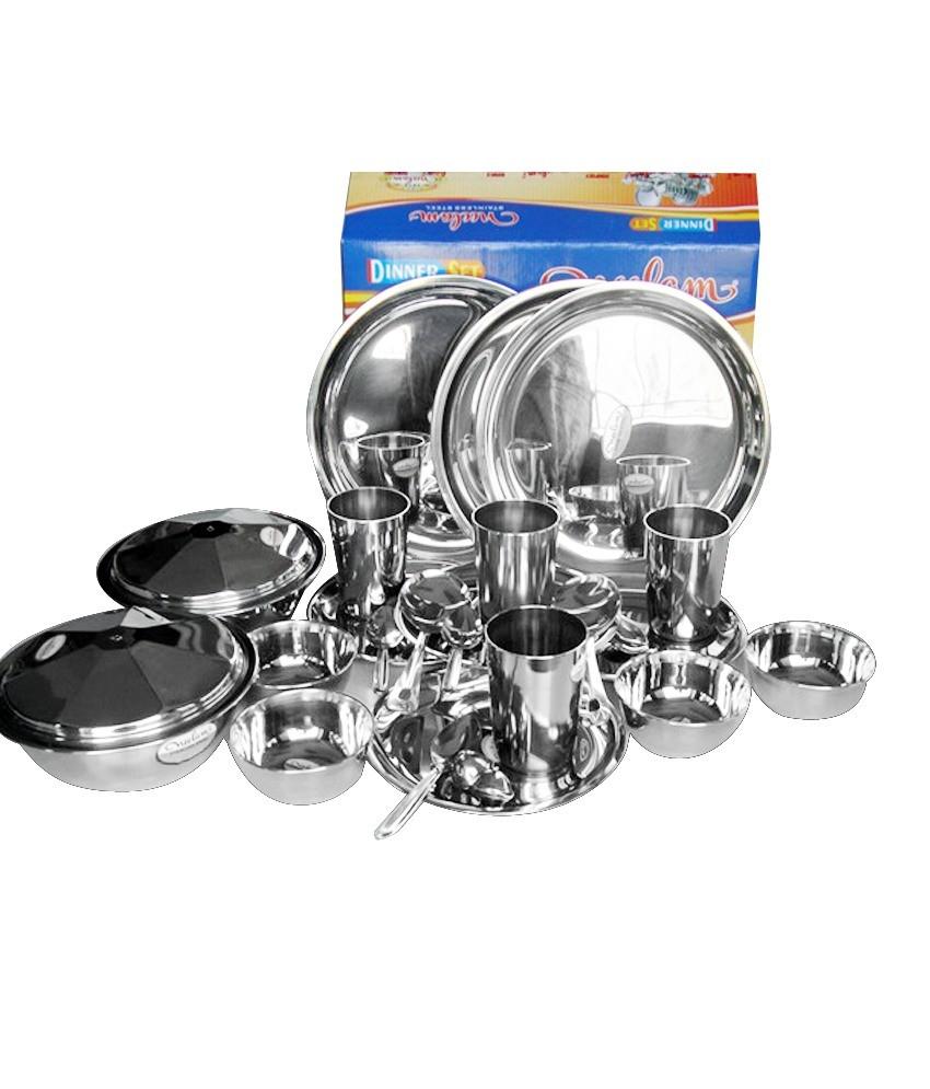 Neelam Deluxe Stainless Steel Dinner Set (26 Piece)