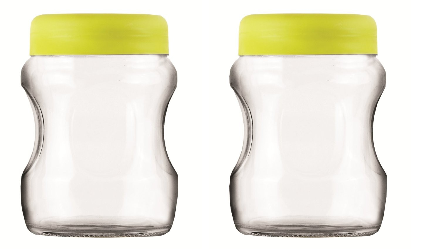 Roxx Curvy Jar Set, 500ml, Set of 2, Green