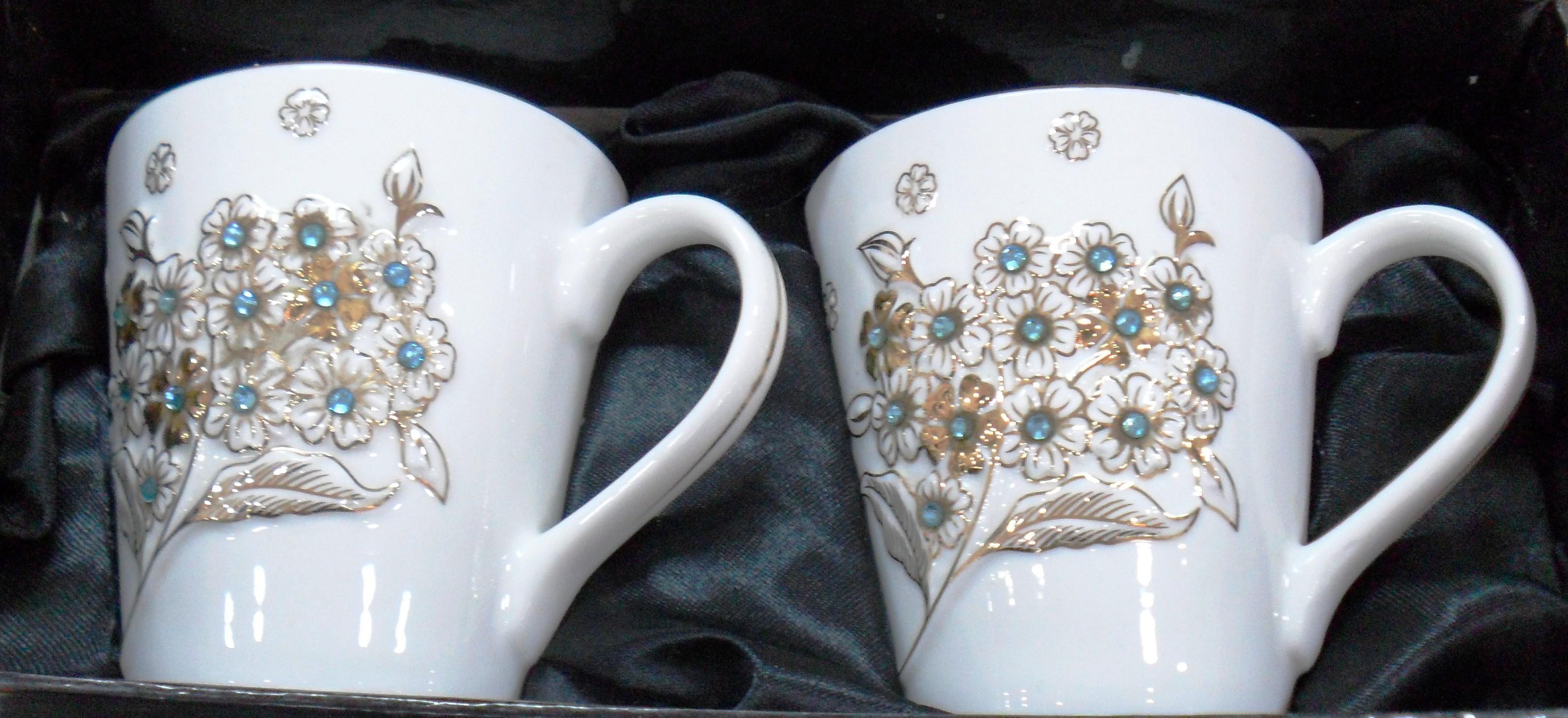 Hi Luxe Crystei Colletion Mug 2 Pc Mercury