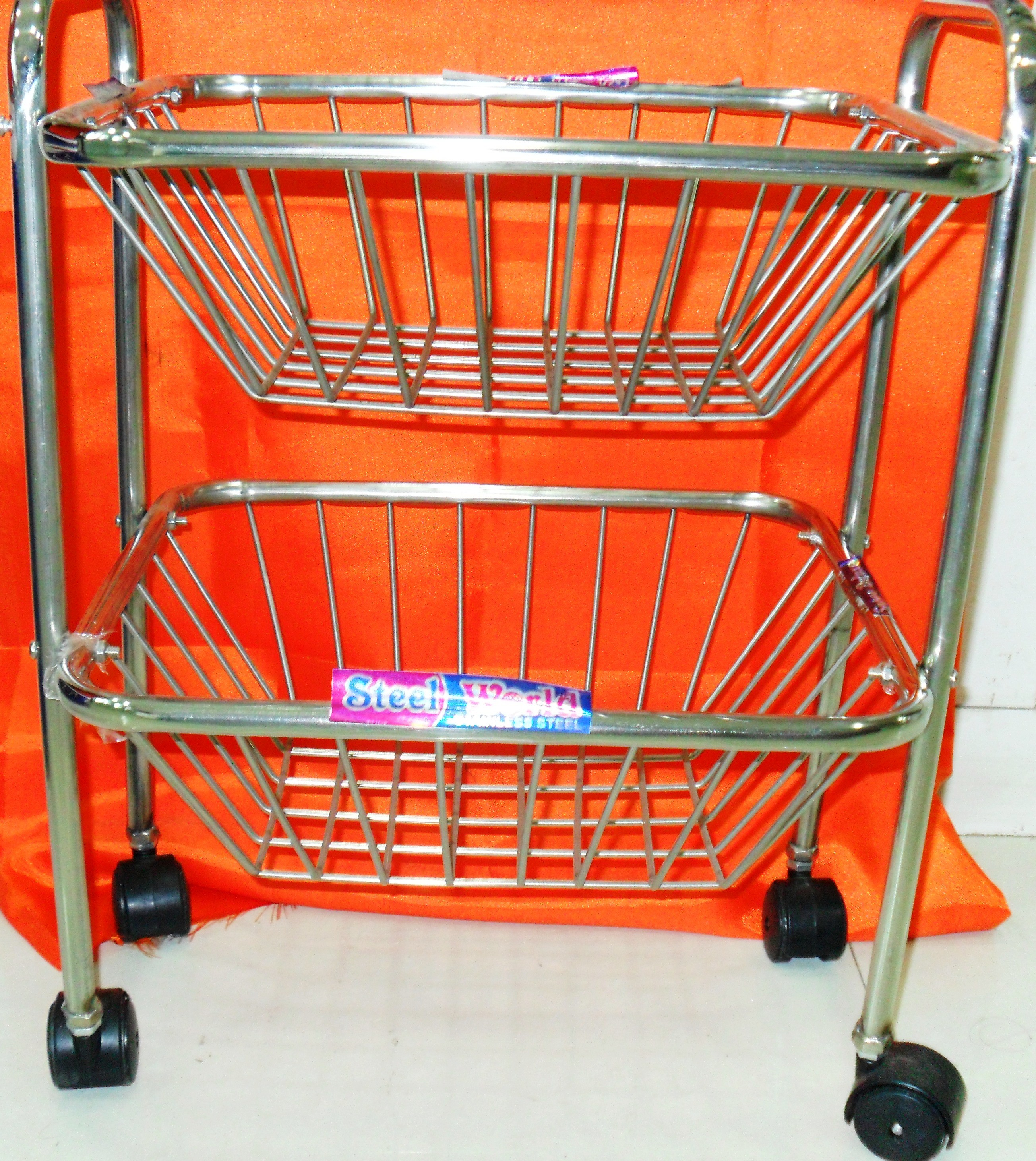 Manya World 2 Shelf Basket Trolly (Square Section)