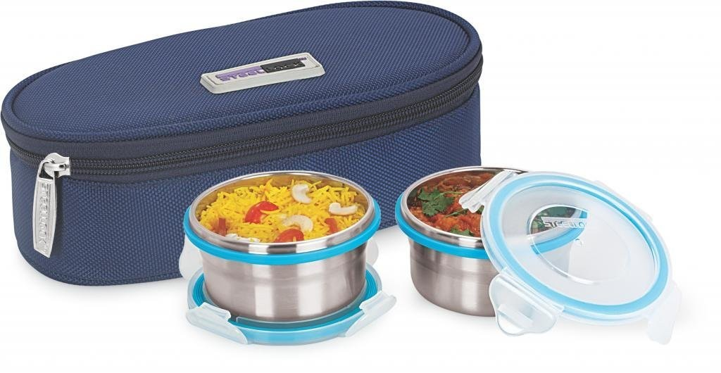 Steel Lock HL- 1221 Airtight 2 pc Lock Steel Lunch / Meal Box/Tiffin with Insulated Bag