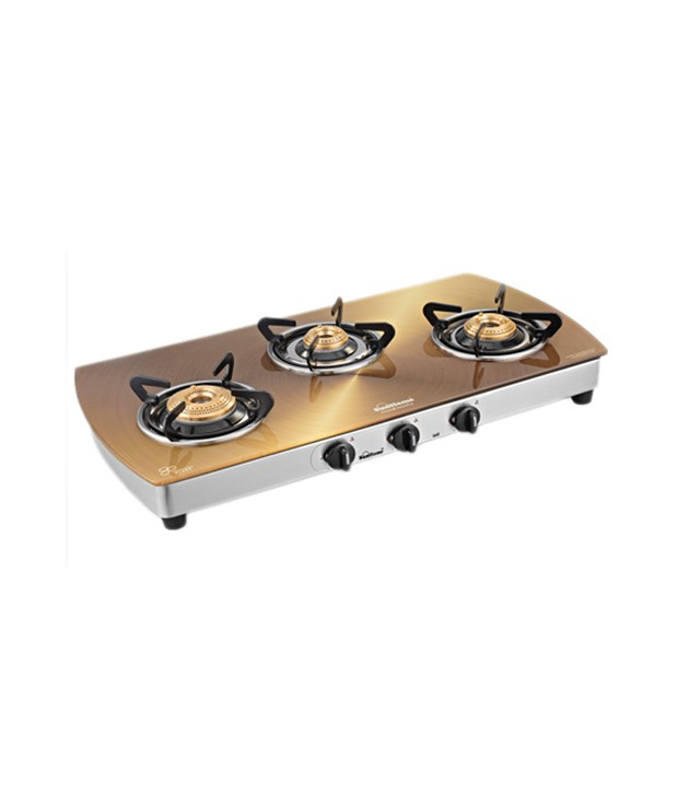 Sunflame 3B-SS Crystal Toughened Glass Cooktop Metallic Gold
