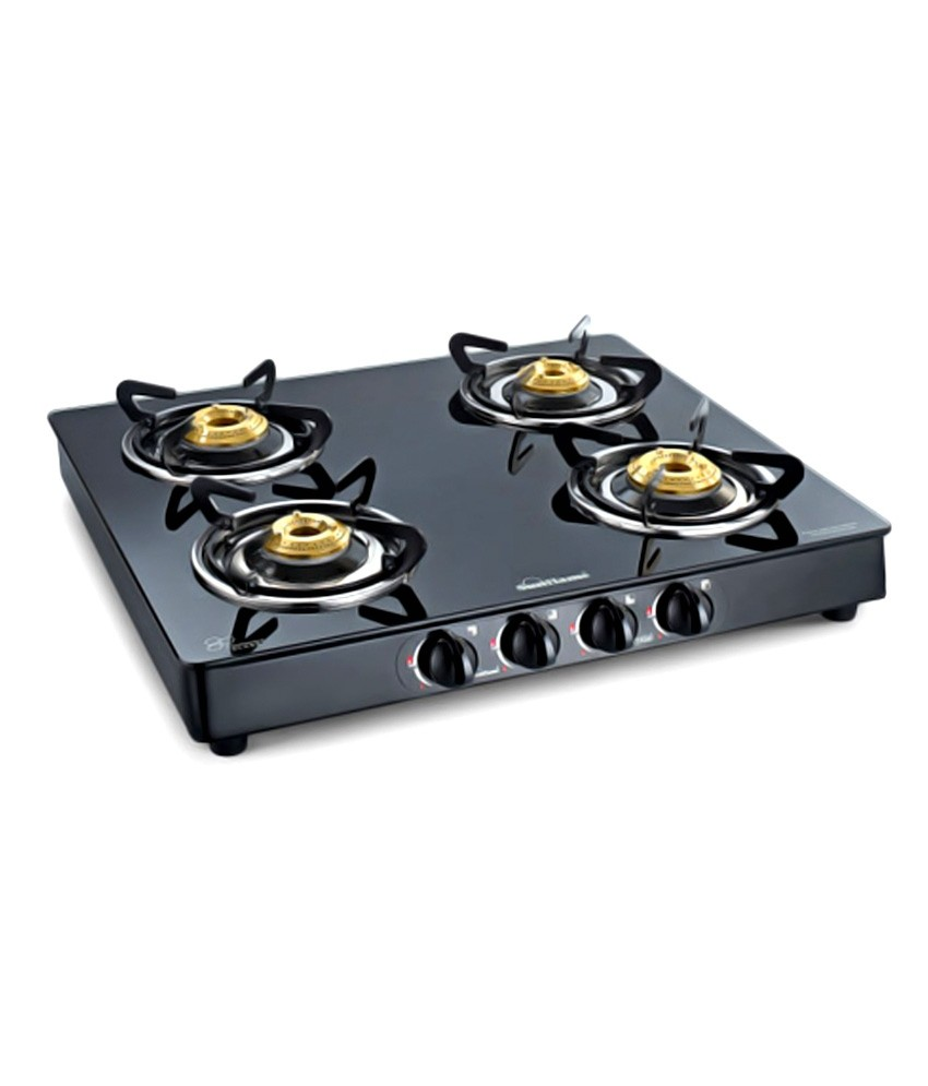 Sunflame Crystal Glass Top  4 Burner Gas Cooktop