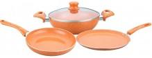 Wonderchef Tangerine Induction Base Aluminium Cookware Set, 4-Pieces, Orange