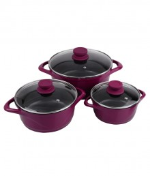 Wonderchef Ceramide 3Pc Casserole Set - purple