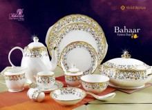 Bharat Kareena Dinner Set, 38-Pieces, Gold/Green