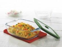 Borosil Square Dish With Green Lid 2.2L