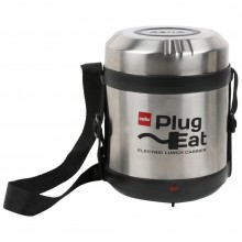 Cello Electro Lunch Box with 3 Containers Outer Material Stainless Steel, Colour Black