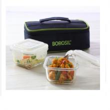 Borosil Microwavable Lunch Box Set of 2 Square Dish 320 ML Horizontal