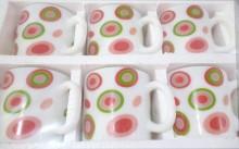 LaOpala Coffee Mugs Set of 6 Straight Shape Design Whirls Red