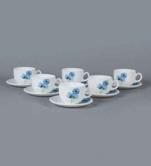 LaOpala Iris Regular Blue Poppies Opal Ware 160 ML Cup and Saucer - Set of 6