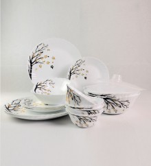 Larah Autumn White Opal Glass Dinner Set of 18 by Borosil