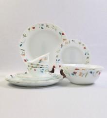 Larah by Borosil Minerva White Opal Glass 18-piece Dinner Set