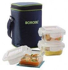 Borosil Microwavable Lunch Box Set of 3 Square Dish 320 ML