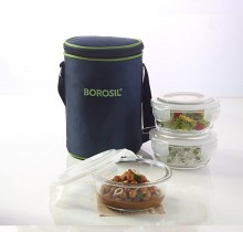 Borosil Microwavable Lunch Box Set of 3 Round Dish 400 ML