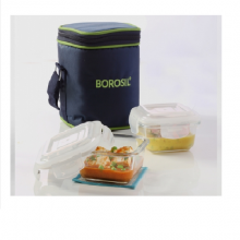Borosil Microwavable Lunch Box Set of 2 Square Dish 320 ML