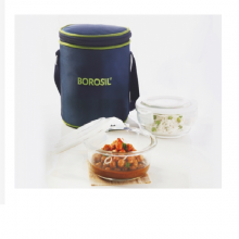 Borosil Microwavable Lunch Box Set of 2 Round Dish 400 ML