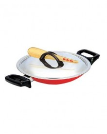 Nirlep 210 mm Appam Chetty with Lid (Red)
