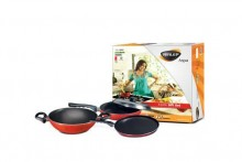 Nirlep Non-stick 3 Piece Gift Set Griddle, Kadhai & Fry Pan With Lid Sags 1