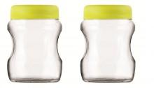 Roxx Curvy Jar Set, 500ml, Set of 2, Green